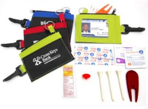 Pouch with 10 must-have items for every golfer. Logo imprinted on front of pouch Item E2251